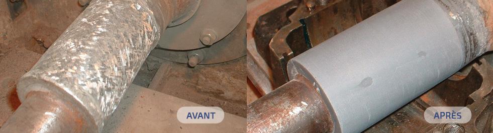 Un objet avant et après le traitement Belzona.