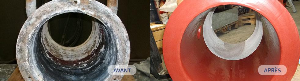 Revêtement Antiacide Belzona. Avant application et après.